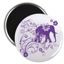 Elephant Swirls Purple Magnet