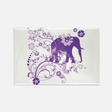 Elephant Swirls Purple Rectangle Magnet
