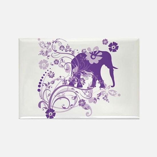 Elephant Swirls Purple Rectangle Magnet (10 pack)