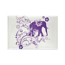 Elephant Swirls Purple Rectangle Magnet (100 pack)