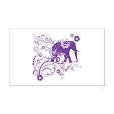 Elephant Swirls Purple Rectangle Car Magnet