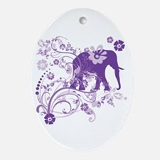 Elephant Swirls Purple Oval Ornament