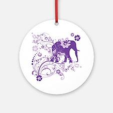 Elephant Swirls Purple Round Ornament