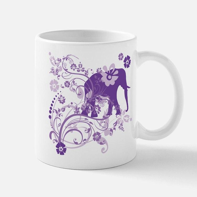 Elephant Swirls Purple Small Small Mug