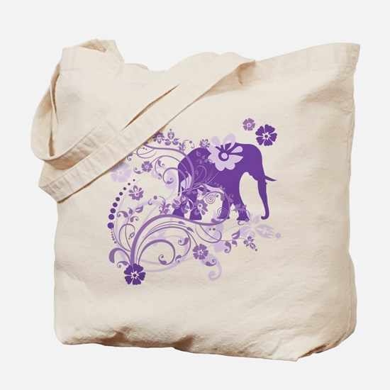 Elephant Swirls Purple Tote Bag