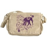 Purple elephant Canvas Messenger Bags