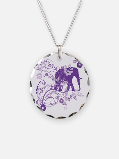 Elephant Swirls Purple Necklace