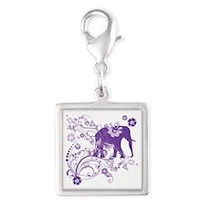 Elephant Swirls Purple Silver Square Charm