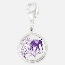 Elephant Swirls Purple Silver Round Charm