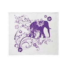 Elephant Swirls Purple Throw Blanket