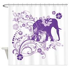 Elephant Swirls Purple Shower Curtain