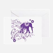 Elephant Swirls Purple Greeting Card
