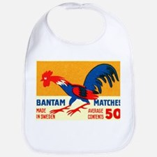 Antique Sweden Bantam Rooster Matchbox Label Bib