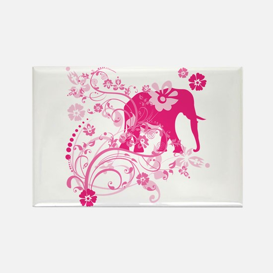 Elephant Swirls Pink Rectangle Magnet (10 pack)