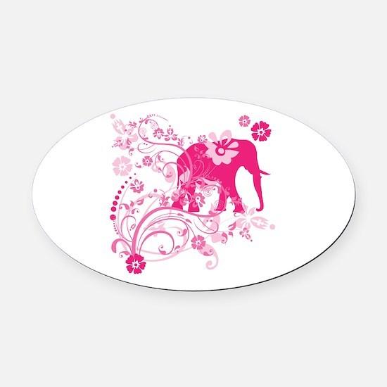 Elephant Swirls Pink Oval Car Magnet