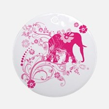 Elephant Swirls Pink Ornament (Round)