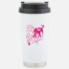 Elephant Swirls Pink Travel Mug