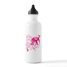 Elephant Swirls Pink Water Bottle