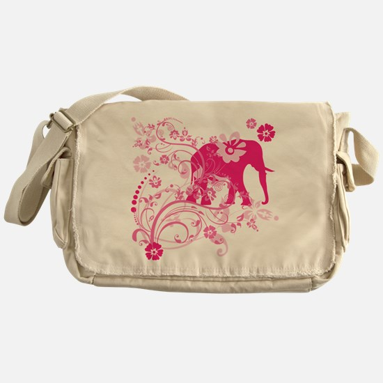 Elephant Swirls Pink Messenger Bag
