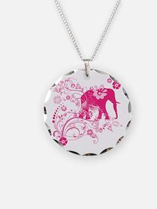 Elephant Swirls Pink Necklace