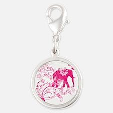Elephant Swirls Pink Silver Round Charm