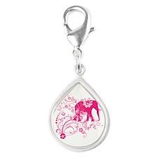 Elephant Swirls Pink Silver Teardrop Charm