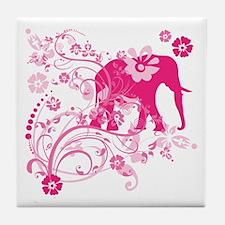 Elephant Swirls Pink Tile Coaster