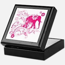 Elephant Swirls Pink Keepsake Box