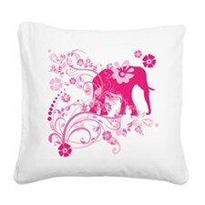 Elephant Swirls Pink Square Canvas Pillow