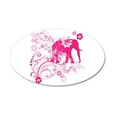 Elephant Swirls Pink Wall Decal