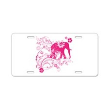 Elephant Swirls Pink Aluminum License Plate