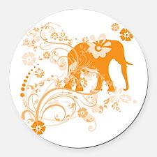 Elephant Swirls Orange Round Car Magnet