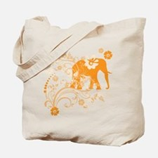 Elephant Swirls Orange Tote Bag