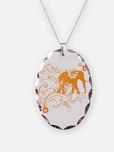 Elephant Swirls Orange Necklace