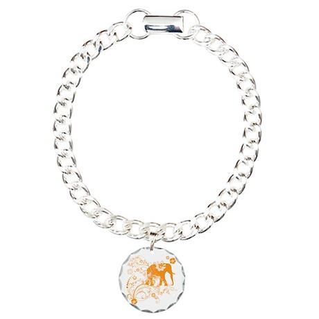 Elephant Swirls Orange Charm Bracelet, One Charm