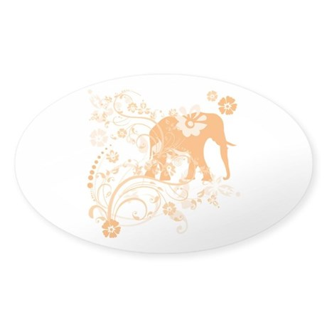Elephant Swirls Orange Sticker (Oval 10 pk)
