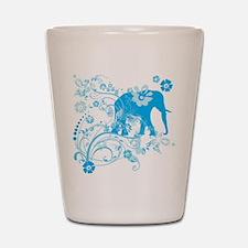 Elephant Swirls Blue Shot Glass