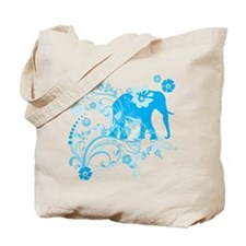 Elephant Swirls Blue Tote Bag