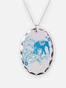 Elephant Swirls Blue Necklace
