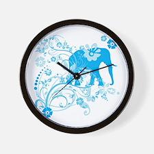 Elephant Swirls Blue Wall Clock
