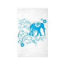 Elephant Swirls Blue 3'x5' Area Rug