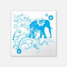 "Elephant Swirls Blue Square Sticker 3"" x 3"""