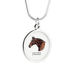 Sport Horse Silver Round Necklace