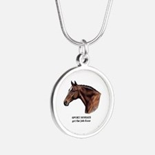 Sport Horse Silver Round Necklace
