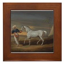 White Arabian Horse Framed Tile