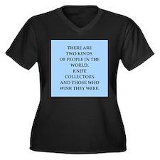 knife Women's Plus Size V-Neck Dark T-Shirt