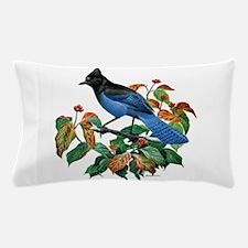 A Blue Stellers Jay in Dogwood Tree Pillow Case