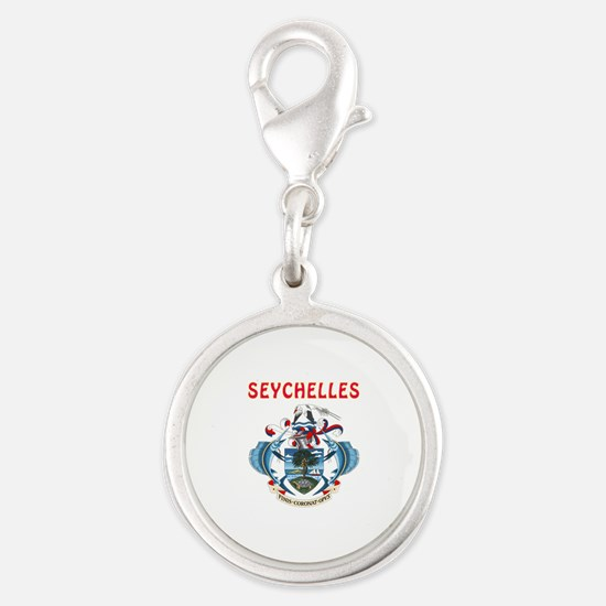 Seychelles Coat of arms Silver Round Charm