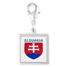 Slovakia Coat of arms Silver Square Charm