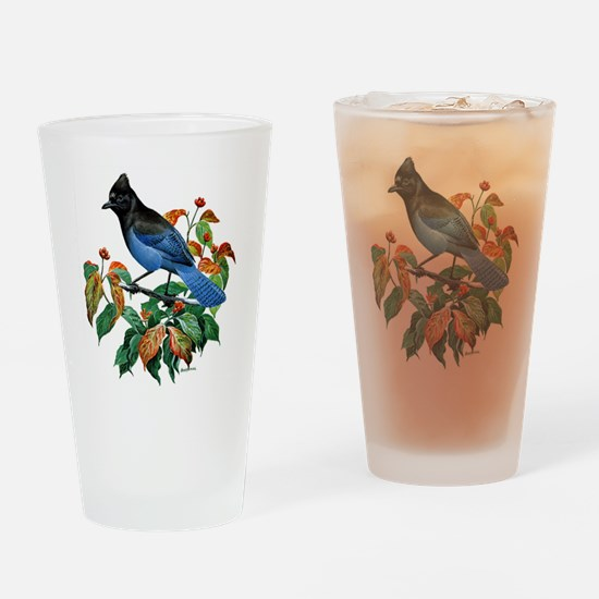 A Blue Stellers Jay in Dogwood Tree Drinking Glass